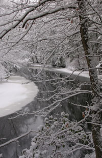 Squannacook River in winter - Photo by Joan Wotkowicz