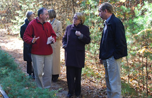 Congresswoman Niki Tsongas tours the proposed Squannacook River Rail Trail with local advocates - Photo by Bill Rideout