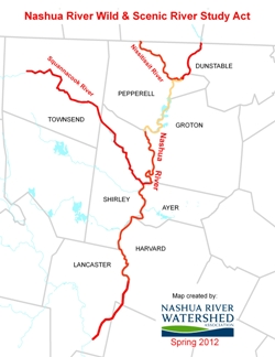 River segments included in Nashua River Wild & Scenic River Study Act