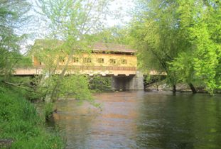 Covered bridge over the Nashua River in Pepperell, MA - Photo by Jane Metzger