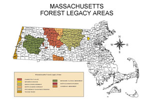 Map of Forest Legacy areas in Massachusetts